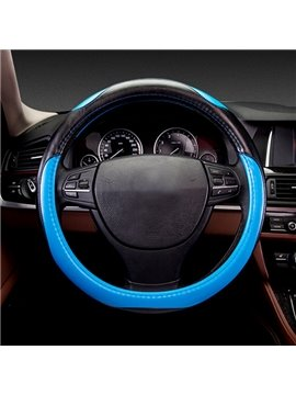 Fresh Contrast Color Sport Style Design Leather Material Car Steering Wheel Cover