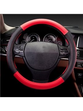 Super Fantastic Contrast Color Bright Sport Leather Medium Car Steering Wheel Cover