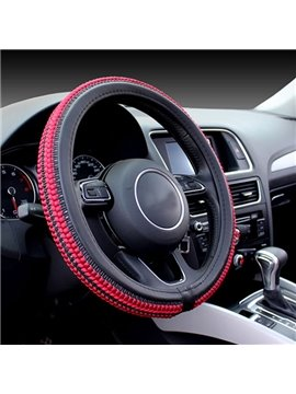 Unusual Weaving Crafts Leather Mixed Ice Silk Material Popular Car Steering Wheel Cover