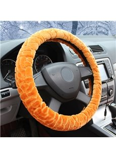 Winter Thick Comfortable Plush Material Solid Design Warm Medium Car Steering Wheel Cover