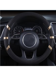 Classic Black Style With Colored Ribbon Design Fashion Car Steering Wheel Cover