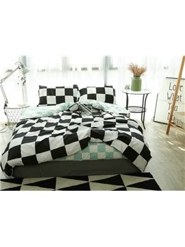 Classic Checker Print 4-Piece Cotton Duvet Cover Sets