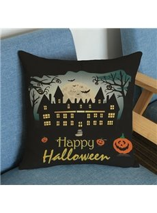 Excellent Black Halloween Castle Print Throw Pillow Case