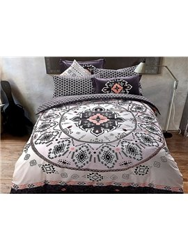 Exotic Style Medallion Print 4-Piece Cotton Duvet Cover Sets