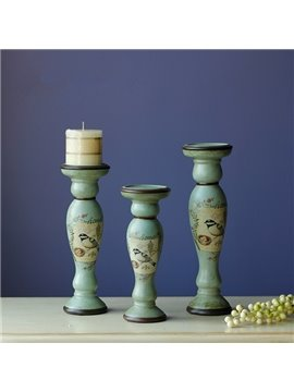 European Style Ceramic Three Pieces Candle Holders Desktop Decoration Painted Pottery