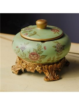 Classic European Style Flower Pattern Desktop Ashtray Painted Pottery