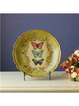 Handmade Ceramic Flower and Butterfly Pattern Plate Desktop Decoration Painted Pottery