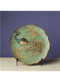 Green Ceramic Beautiful Peacock Pattern Desktop Plate Painted Pottery