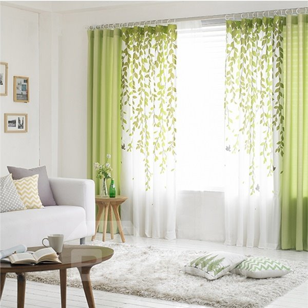 Green Willow Branches Printing Grommet Top Custom Curtain 12479897