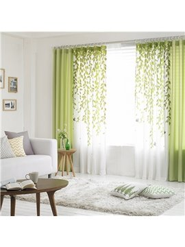 Green Willow Branches Printing Grommet Top Custom Curtain