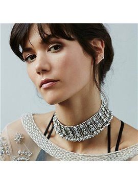 Shinning Diamante Stone Alloy Choker Necklace