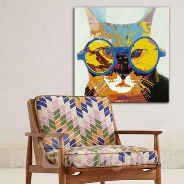 Amusing cat with glasses pattern wall decoration none for A decoration none
