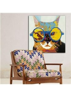 Amusing Cat with Glasses Pattern Wall Decoration None Framed Oil Painting