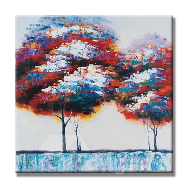 Two natural colorful trees pattern canvas stretched none for Oil painting patterns