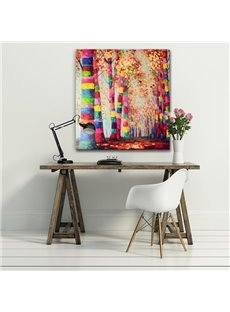 Colorful Autumn Tree on Both Sides of Road Canvas Stretched Oil Painting