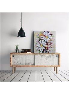 Amazing Square White Flower Pattern Canvas Stretched None Framed Oil Painting
