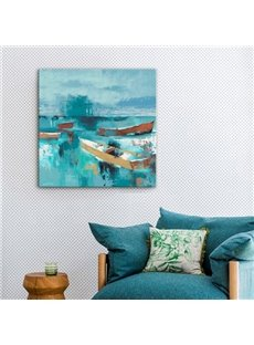 Impressionism Boat on Blue Sea Wall Decorative None Framed Oil Painting