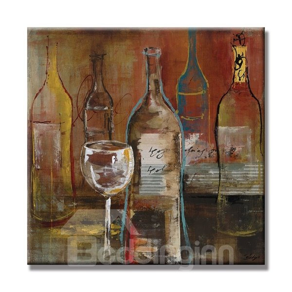 Purple Bowls Wine Bottels Modern Canvas Painting Wall Art: Realism Modern Wine Bottle And Glasses Pattern None Framed