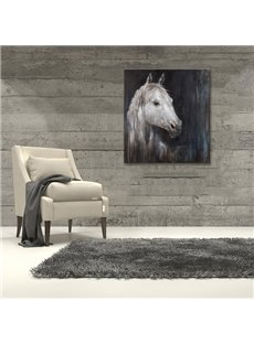 Black Background with White Horse Pattern None Framed Oil Painting