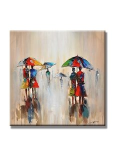 Realism Square Two Elegant Girls Walking in the Rain with Umbrella Oil Painting