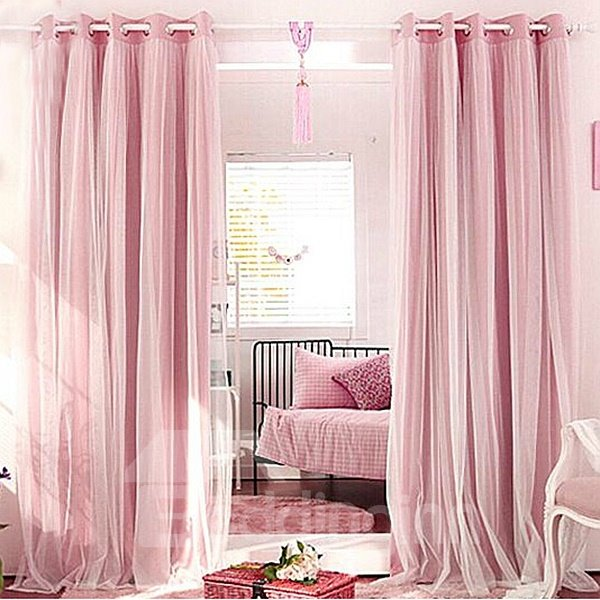 Romantic Pink Sheer and Shading Cloth Sewing Together Grommet Top Custom Blackout Curtains 12480901