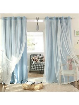 Romantic Blue Sheer and Shading Cloth Sewing Together Grommet Top Custom Blackout Curtains