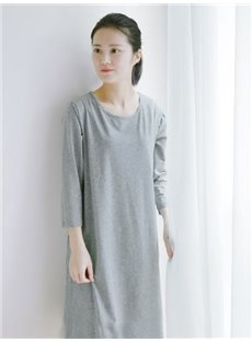 Pure Gray Home Long Skirt Comfortable Cotton Material Pajamas