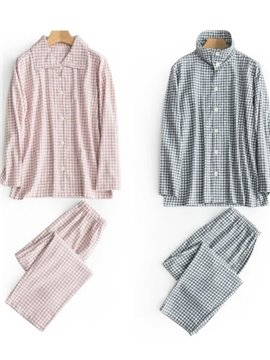Classic Lattice Style Design Charming Simple Design Autumn Winter Cotton 100% Pajamas