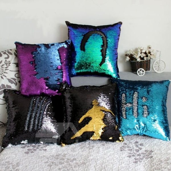 popular mermaid glitter sequins decorative throw pillow. Black Bedroom Furniture Sets. Home Design Ideas