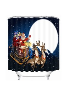 Cartoon Santa Riding Reindeer at Moon Printing Christmas Theme 3D Shower Curtain
