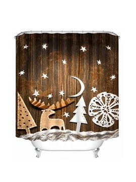 Creative Applique Reindeer and Christmas Tree Printing Christmas Theme 3D Shower Curtain