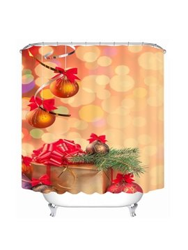 Golden Jingle Bell Printing Christmas Theme 3D Shower Curtain