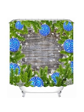 Blue Christmas Ball and Christmas Tree Printing Bathroom Decor Shower Curtain