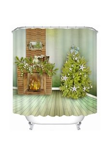 Fireplace and Christmas Tree Printing Christmas Theme 3D Shower Curtain