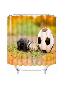 A Soccer Shoes near the Soccer in the Dusk Printing 3D Shower Curtain