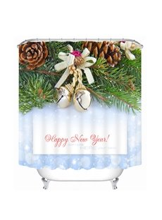 Christmas Bell on the Tree with Pine-Cone Printing Christmas Theme 3D Shower Curtain