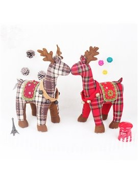 Lovely Two Pieces Fabric Plaid Pattern Deer Desktop Decoration
