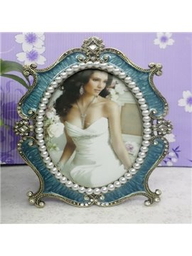 Elegant Blue Oval Shape with Pearl European Style Desktop Photo Frame