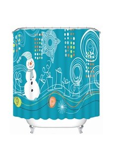 Stick Figures Snowman and Gifts Printing Christmas Theme 3D Shower Curtain
