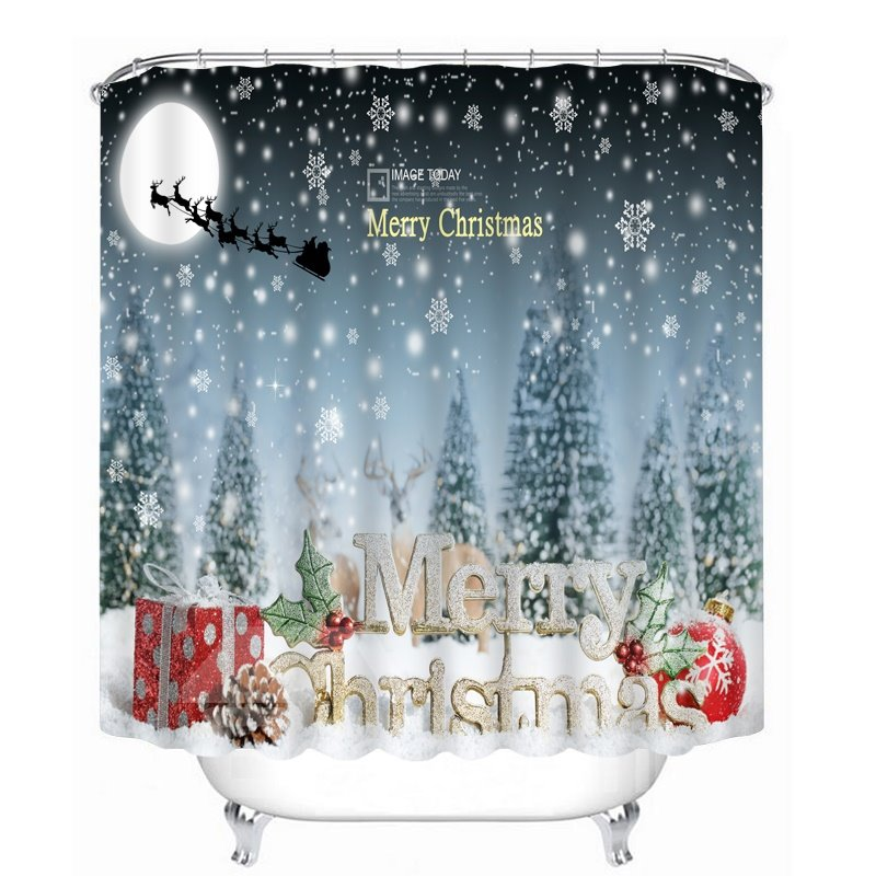 Country Christmas Bathroom Sets: Aesthetic Snow Scene And Merry Christmas Printing