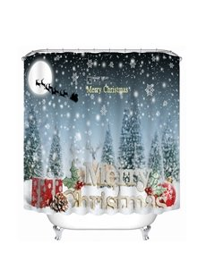 Aesthetic Snow Scene and Merry Christmas Printing Christmas Theme 3D Shower Curtain
