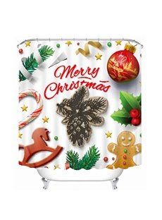 Cute Merry Christmas Decoration Printing 3D Shower Curtain