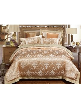 Luxury Golden Jacquard 4-Piece Duvet Cover Sets