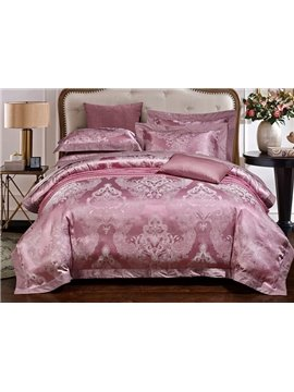 Fashionable Cameo Brown Jacquard 4-Piece Duvet Cover Sets