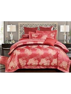 Pretty Peony Jacquard Red 4-Piece Duvet Cover Sets
