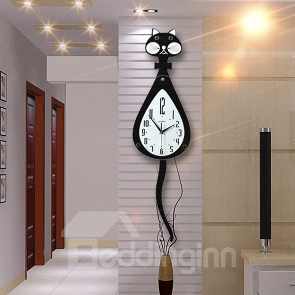 black cute cat shape design 20 inches diameter living room decorative wall clock. Black Bedroom Furniture Sets. Home Design Ideas