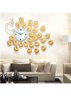 Golden European Style Delicate Peacock Shape Wall Clock