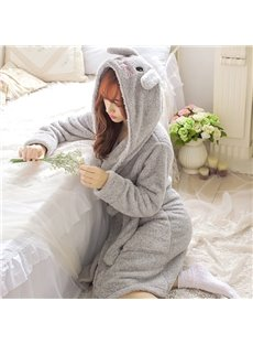 Super Cute Rabbit Coral Cashmere Women Bathrobe with