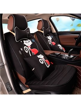 Unique Printing Craft With Cute Lovely Cat Pattern Good Permeability Universal Car Seat Cover