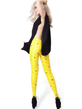 Bright Honeycomb and Bee Pattern Yellow Tight 3D Painted Legging